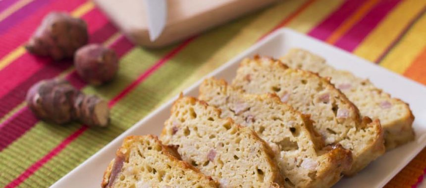 Cake aux lardons et topinambours