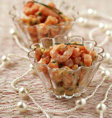 Saumon mariné et crevettes, sauce passion