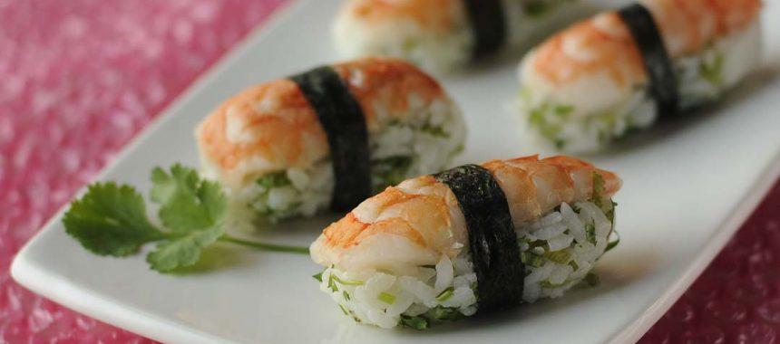 Sushis crevettes coriandre
