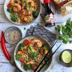Wok aux crevettes et nouilles sautées