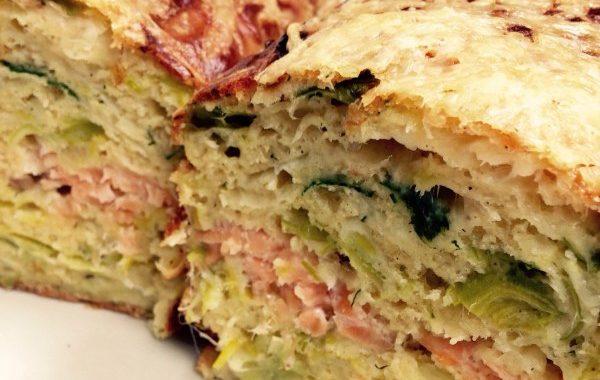 Cake saumon, poireaux et aneth