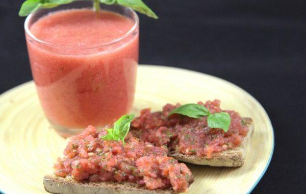 Jus de tomates au basilic