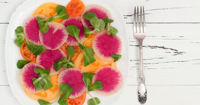 Carpaccio de melon et de radis
