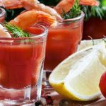 Verrines de gaspacho aux crevettes