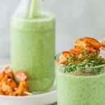 Velouté de courgettes froid tout vert en verrines