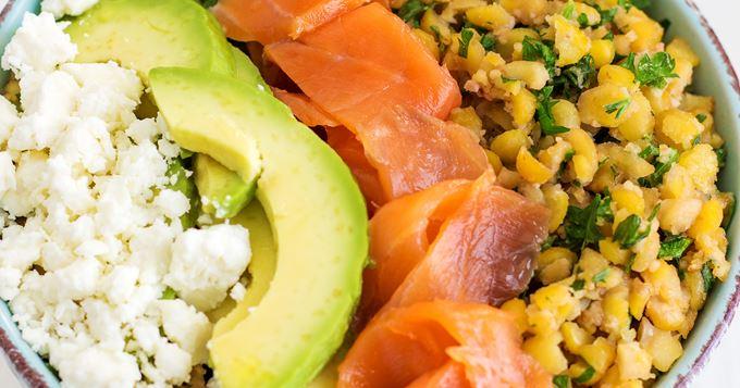 Assiette complète au saumon