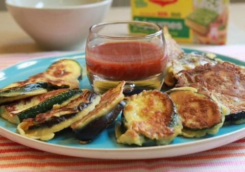 Beignets d'aubergines et courgettes au coulis de tomates