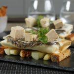 Croustillant de légumes caramélisés au foie gras et pain d'épices