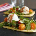 Granité de mascarpone au coulis de tomates et tartelettes melon tomates cerise