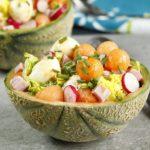 Melon garni mozzarella jambon sucrine