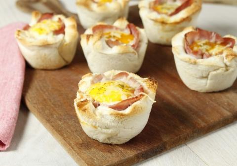 Muffin croque madame à l'ail et au persil