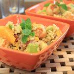 Salade de blé, maïs avocats poulet à la menthe