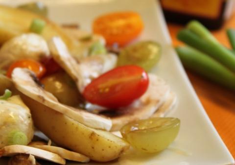 Salade de rattes aux champignons et raisins