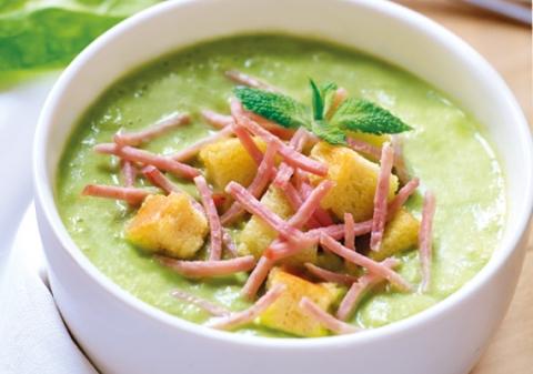 Soupe d'épinards au râpé de jambon