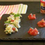 Tartare de cabillaud aux 2 coriandres et condiment tomates chorizo