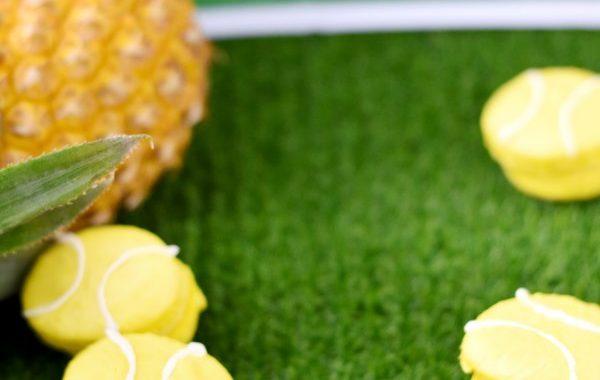 Macaron ananas façon balle de tennis