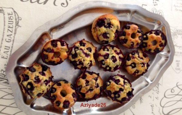 Muffins aux myrtilles et au basilic