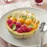 Dessert de melon framboises bananes