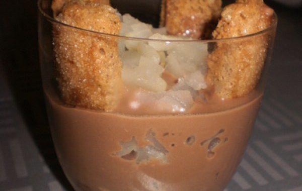 Verrines de crème chocolat et poire