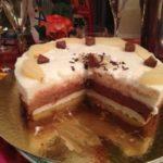 Bavarois poire-chocolat sur biscuit aux amandes