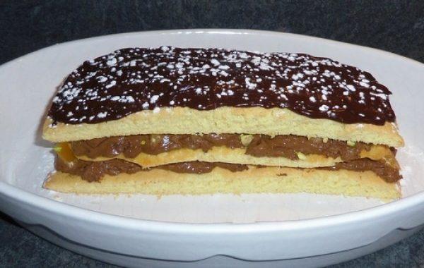 Mille feuille chocolat clémentine éclats de pistaches