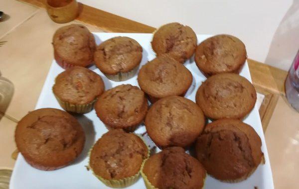Muffins, praliné et noix