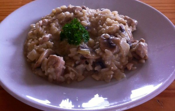 Risotto poulet, champignon