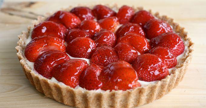 Tarte aux fraises sans beurre, crème pâtissière sans oeufs