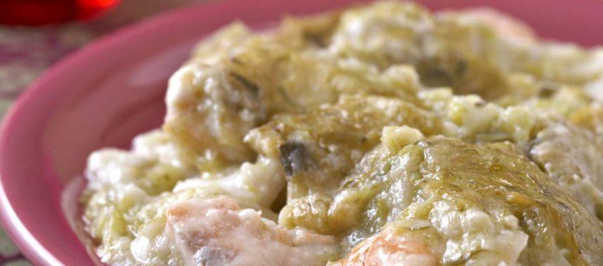 Gratin au saumon et crevettes ou Fish pie