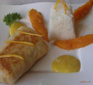 Poisson en croûte avec son duo mangue orange