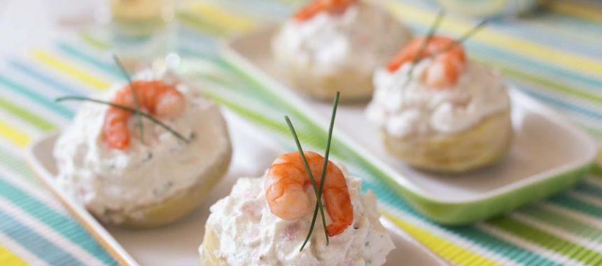 Fonds d'artichauts garnis aux crevettes et fromage frais