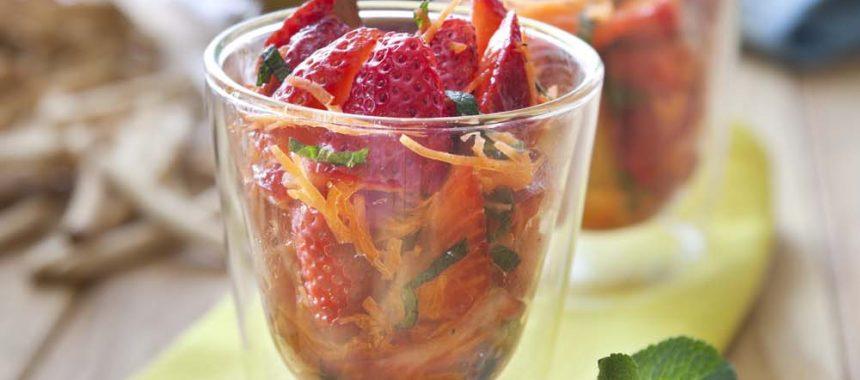 Verrines carottes-fraises à la verveine
