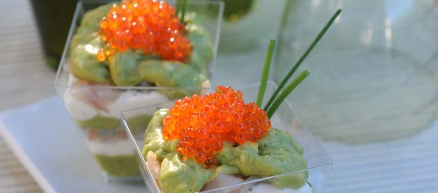 Verrines guacamole, truite et brousse de brebis