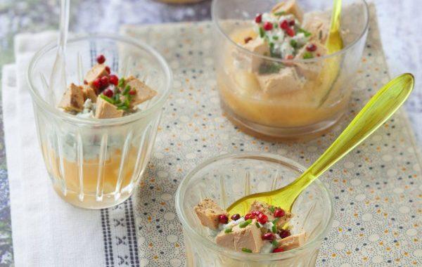 Verrines de foie gras, roquefort et poires