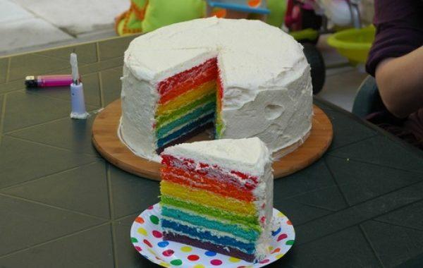 Gâteau intérieur arc-en-ciel