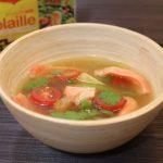 Bouillon aux trois tomates, saumon, et citronnelle