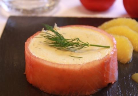 Cheesecake au saumon fumé, courgettes et orange