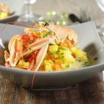 Langoustines et nage de petits légumes au safran