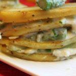 Millefeuilles de pommes de terre asperges parmesan
