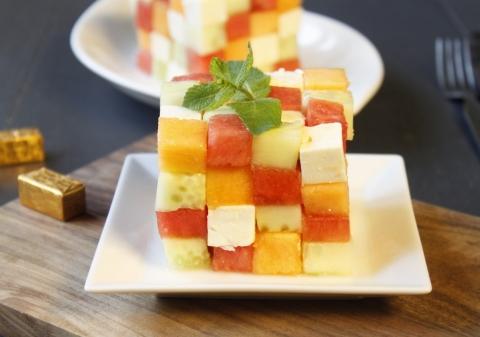 Rubik's cube feta, pastèque, melon et concombre