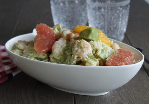 Salade de riz aux crevettes et agrumes