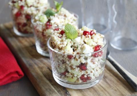 Salade quinoa feta grenade menthe