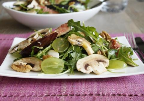 Salade de roquette aux figues et champignons