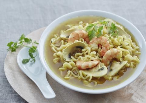 Soupe crevettes et champignons