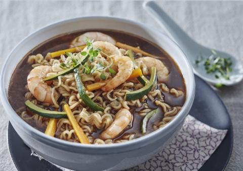 Soupe crevettes et petits légumes