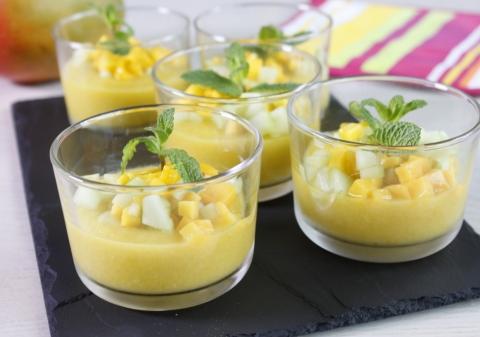 Soupe froide concombre mangue