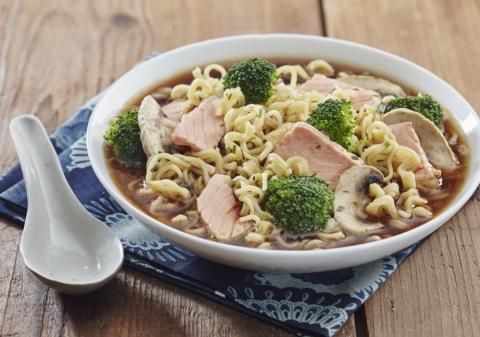 Soupe saumon, brocolis, champignons