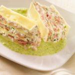 Terrine de pâte lasagnes au râpé de jambon, fromage de chèvre, coulis de courgettes