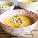 Velouté de patate douce pak choï curry à la thaï