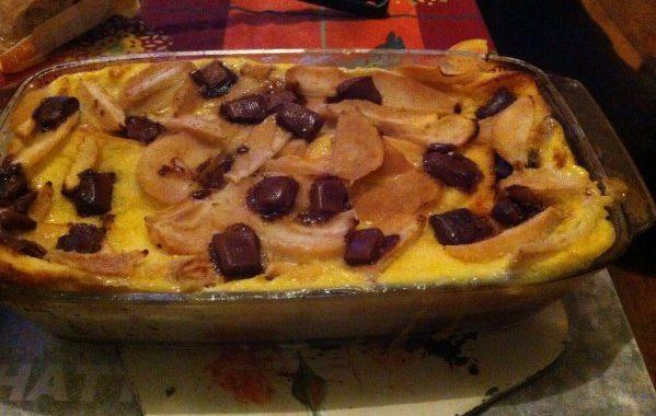 Pudding aux poires et au chocolat